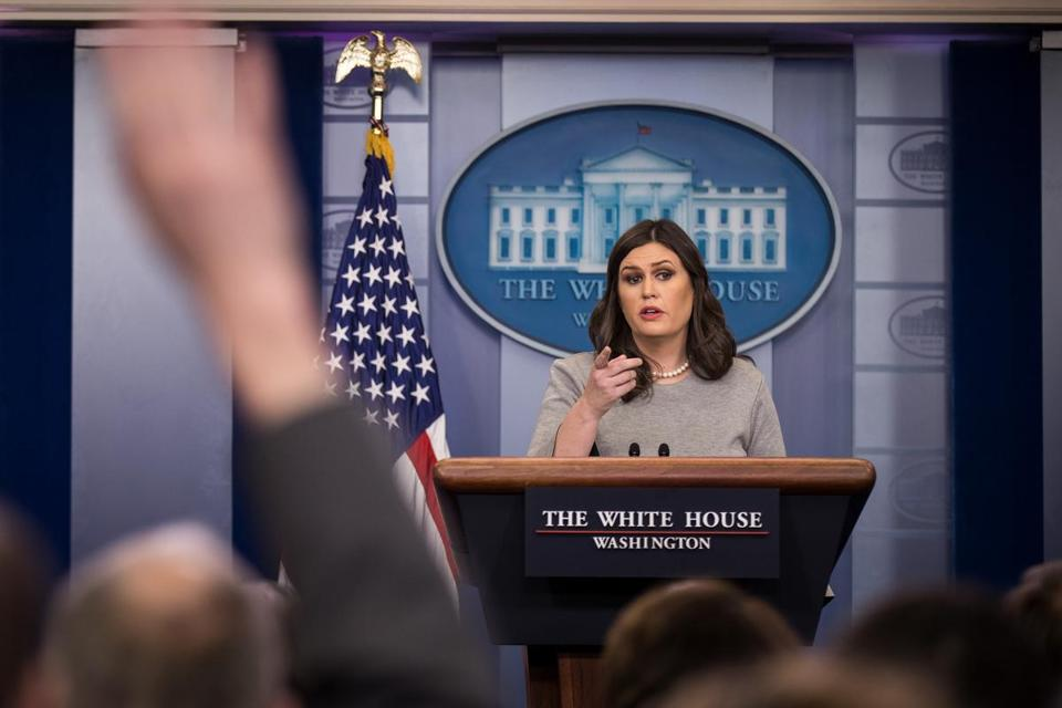 WASHINGTON, DC - DECEMBER 7: White House press secretary Sarah Huckabee Sanders answers questions during the daily briefing at the White House, December 7, 2017 in Washington, DC. (Drew Angerer/Getty Images)