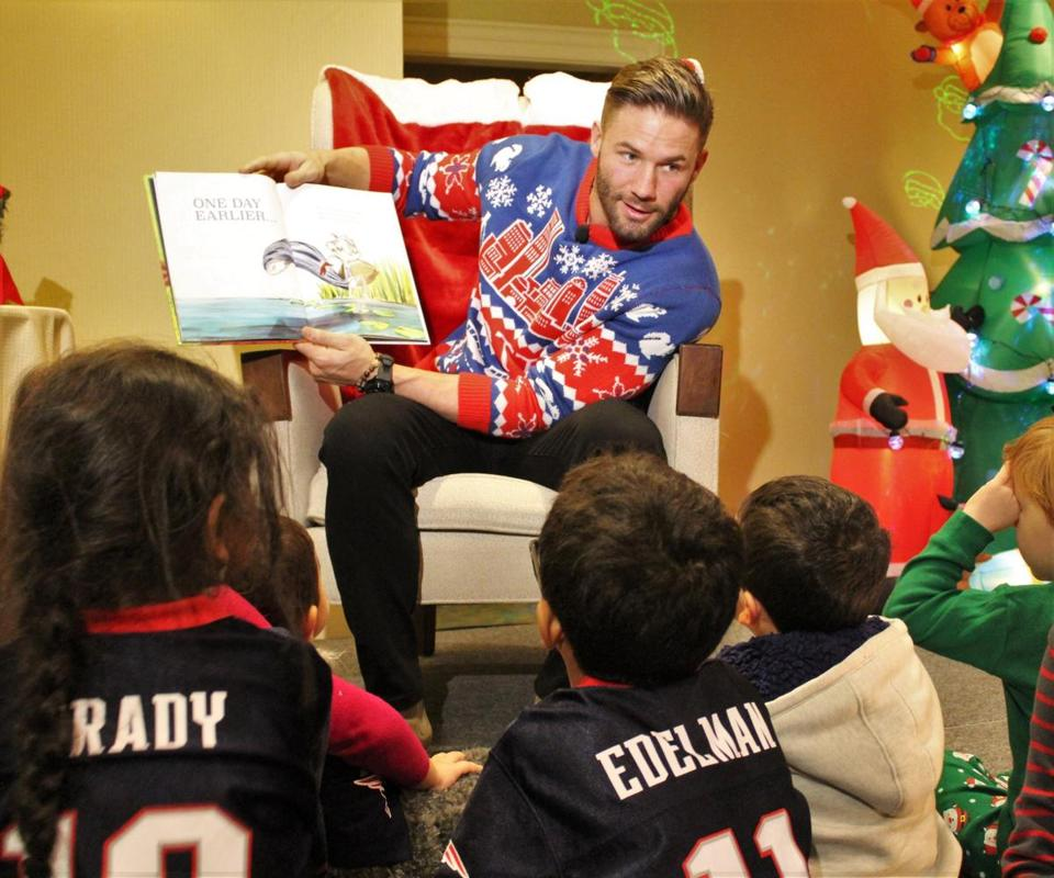 Julian Edelman at the Seaport Hotel and World Trade Center's holiday tree and wreath auction.