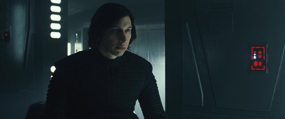 Kylo Ren (Adam Driver) in the 2017 film STAR WARS: THE LAST JEDI, directed by Rian Johnson. Photo: Industrial Light & Magic/Lucasfilm.©2017 Lucasfilm Ltd. All Rights Reserved.