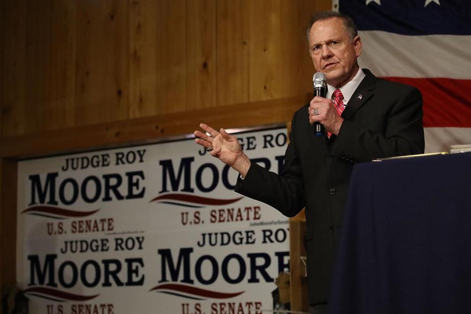 Roy Moore spoke last week during a campaign event at Oak Hollow Farm in Fairhope, Ala.
