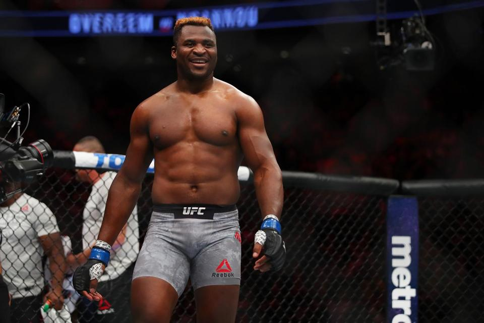 7DETROIT, MI - DECEMBER 02: Francis Ngannou of France celebrates his victory over Alistair Overeem of the Netherlands during UFC 218 at Little Ceasars Arena on December 2, 2018 in Detroit, Michigan. (Photo by Gregory Shamus/Getty Images)
