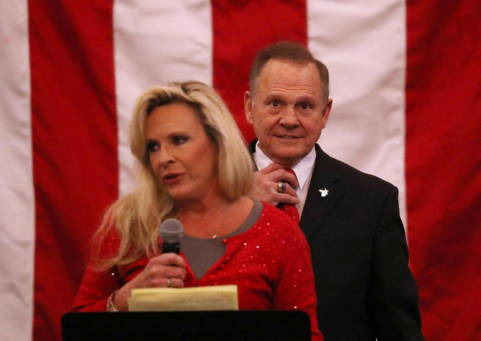 Kayla Moore spoke Monday during a rally for her husband, US Senate candidate Roy Moore, in Midland City, Ala.