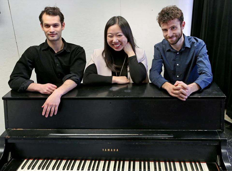 Co-artistic directors Zack Winokur (left) and Matthew Aucoin with managing director Jennifer Chen.