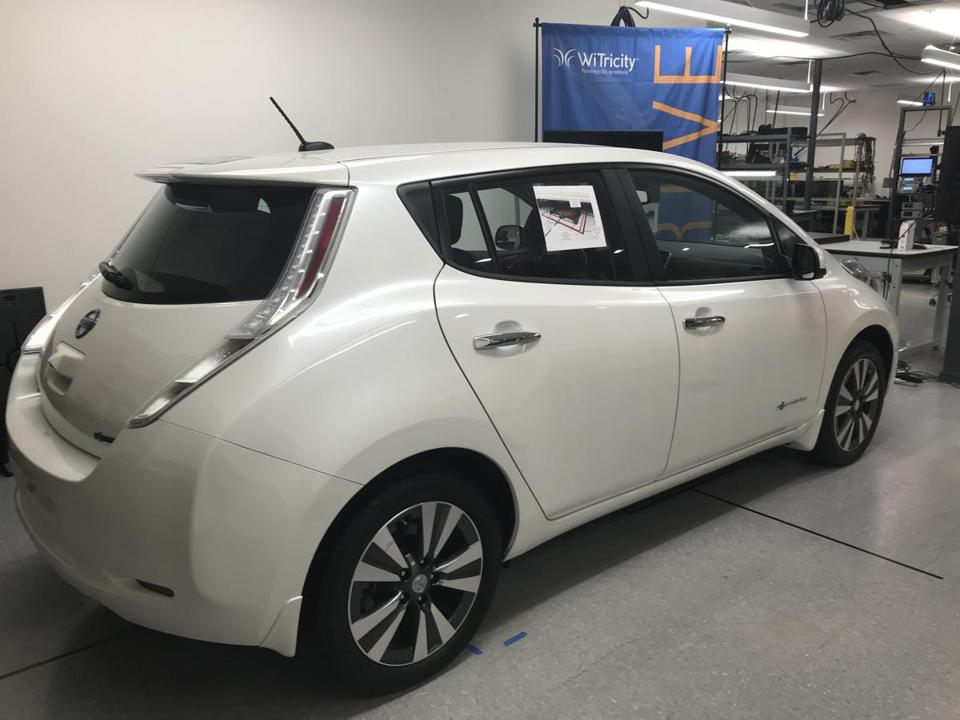 A Nissan Leaf electric vehicle in WiTricity's lab.