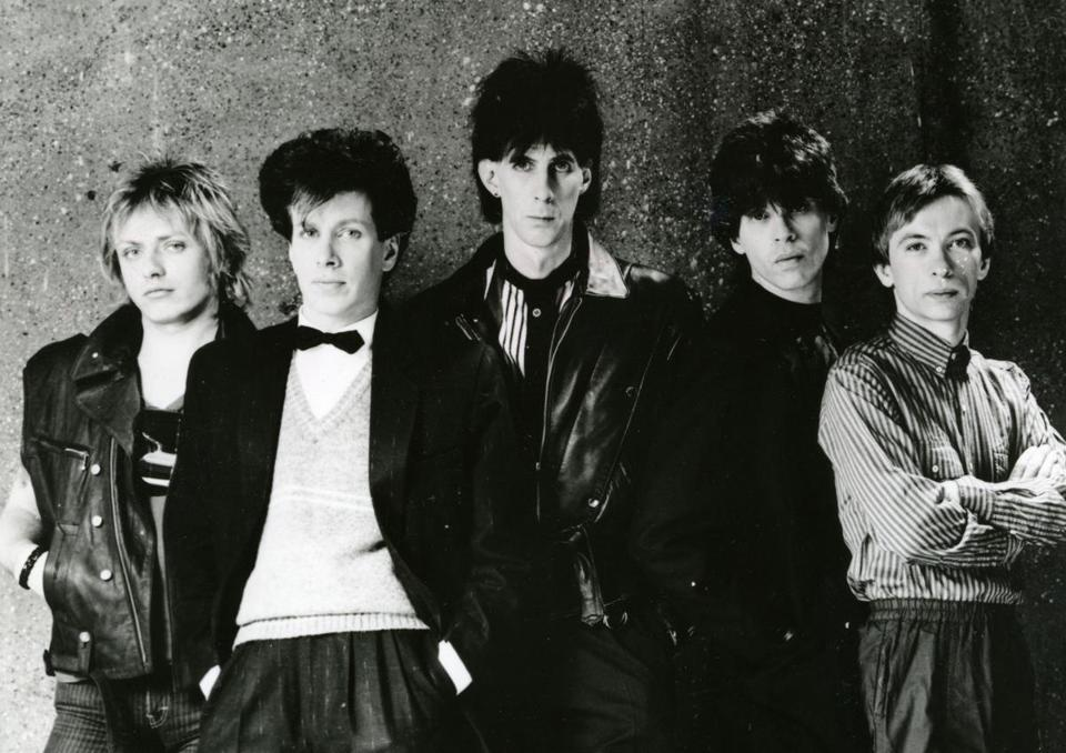 Ben Orr, David Robinson, Ric Ocasek, Elliot Easton and Greg Hawkes of the Cars posed for a portrait in 1984.