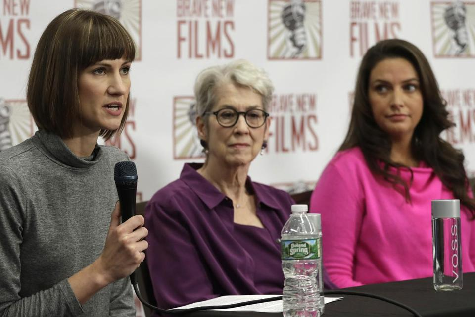 Rachel Crooks, left, Jessica Leeds, center, and Samantha Holvey attend a news conference, Monday, Dec. 11, 2017, in New York to discuss their accusations of sexual misconduct against Donald Trump. The women, who first shared their stories before the November 2016 election, called for a congressional investigation into Trump's alleged behavior. (AP Photo/Mark Lennihan)