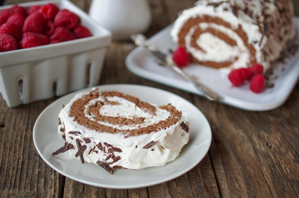 Flourless chocolate roll with vanilla whipped cream