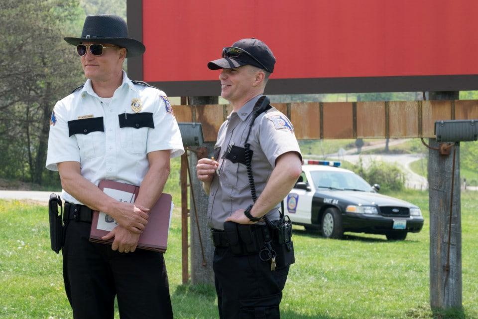 "Woody Harrelson (left, with Sam Rockwell) in ""Three Billboards Outside Ebbing, Missouri."""