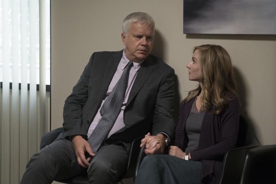 "Tim Robbins and Holly Hunter star in ""Here and Now."""