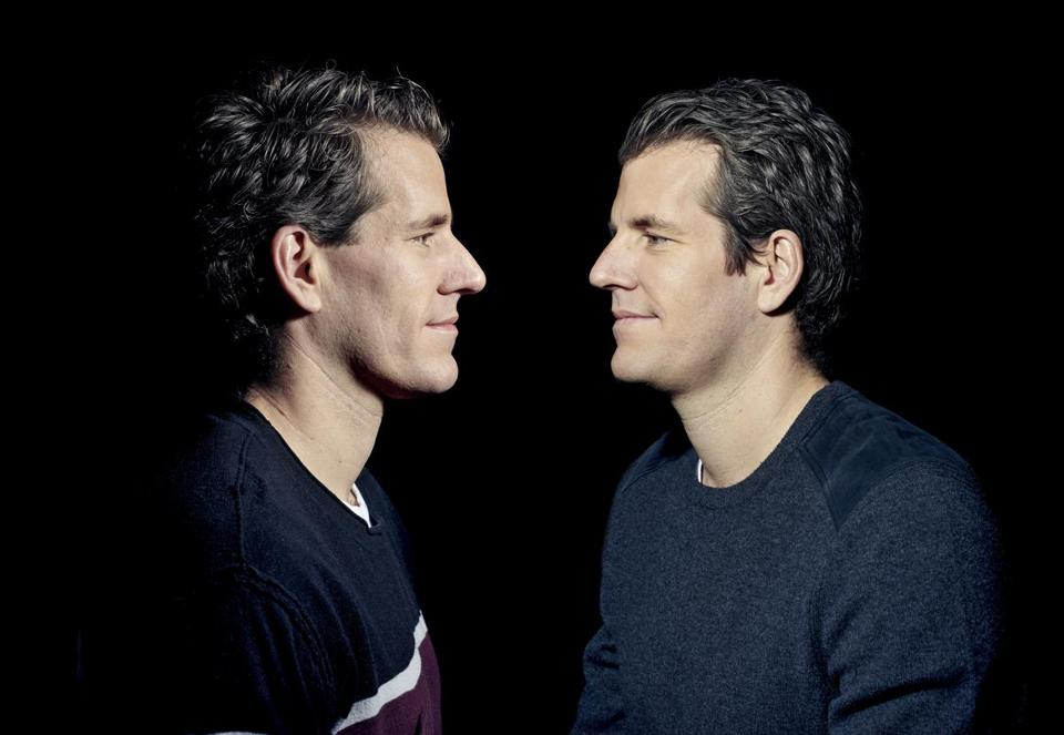 Cameron (left) and Tyler Winklevoss, best known for their legal battle with Mark Zuckerberg over ownership of Facebook, bet big on bitcoin with their money from the settlement.