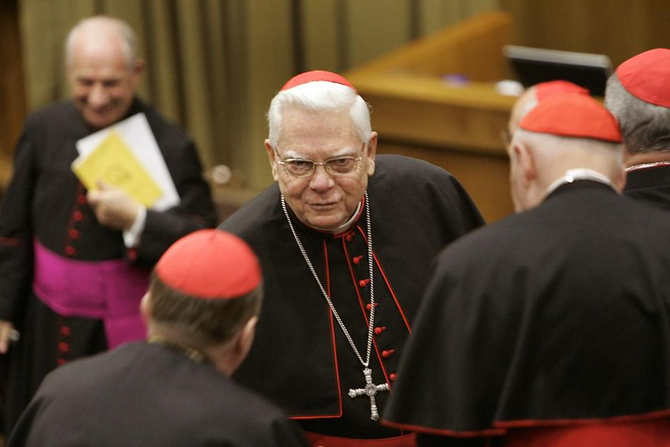 Cardinal Bernard F. Law greeted colleagues in 2006 in Rome.