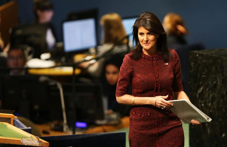 NEW YORK, NY - DECEMBER 21: Nikki Haley, United States Ambassador to the United Nations, prepares to speak on the floor of the General Assembly on December 21, 2017 in New York City. A vote is scheduled at the United Nations General Assembly today concerning Washington's decision to recognize Jerusalem as Israel's capital and relocate its embassy there. The US, which alone vetoed a resolution put to the Security Council on the move to Jerusalem, cannot veto General Assembly motions, which require a simple majority to be adopted. The Trump administration has threatened to take action against any country that votes against the United States decision to move its embassy. (Photo by Spencer Platt/Getty Images)