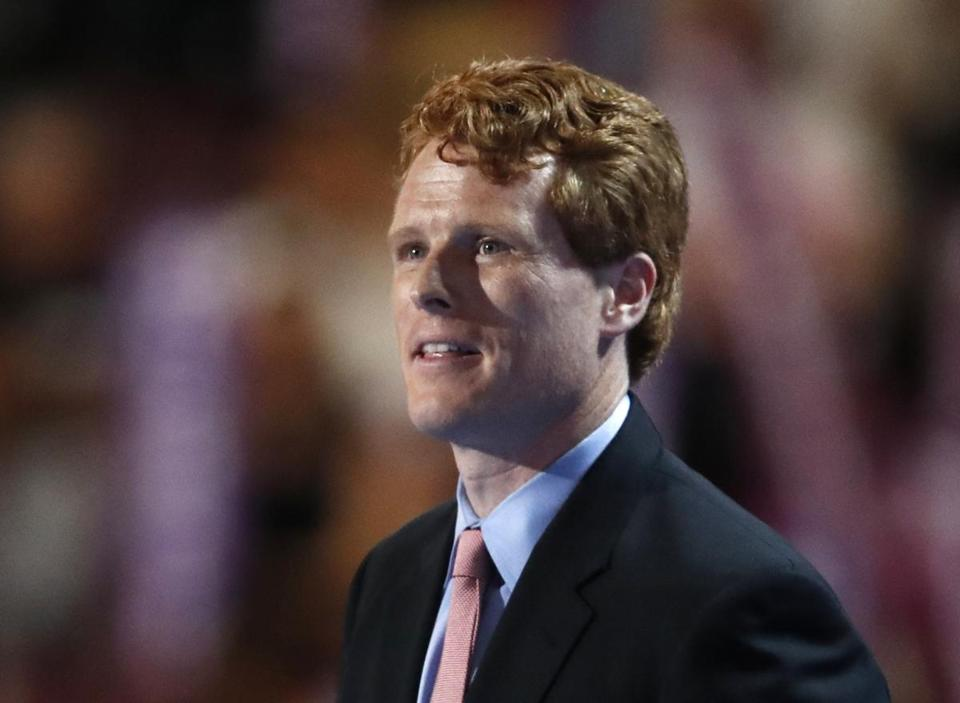 "FILE - In this July 25, 2016 file photo, U.S. Rep. Joe Kennedy, D-Mass., son of former Rep. Joseph Kennedy II, speaks during the first day of the Democratic National Convention in Philadelphia. Joseph P. ""Joe"" Kennedy III, son of former Rep. Joseph P. Kennedy II and Sheila Rauch Kennedy, is serving his third term in the U.S. House representing Massachusetts. (AP Photo/Paul Sancya, File)"