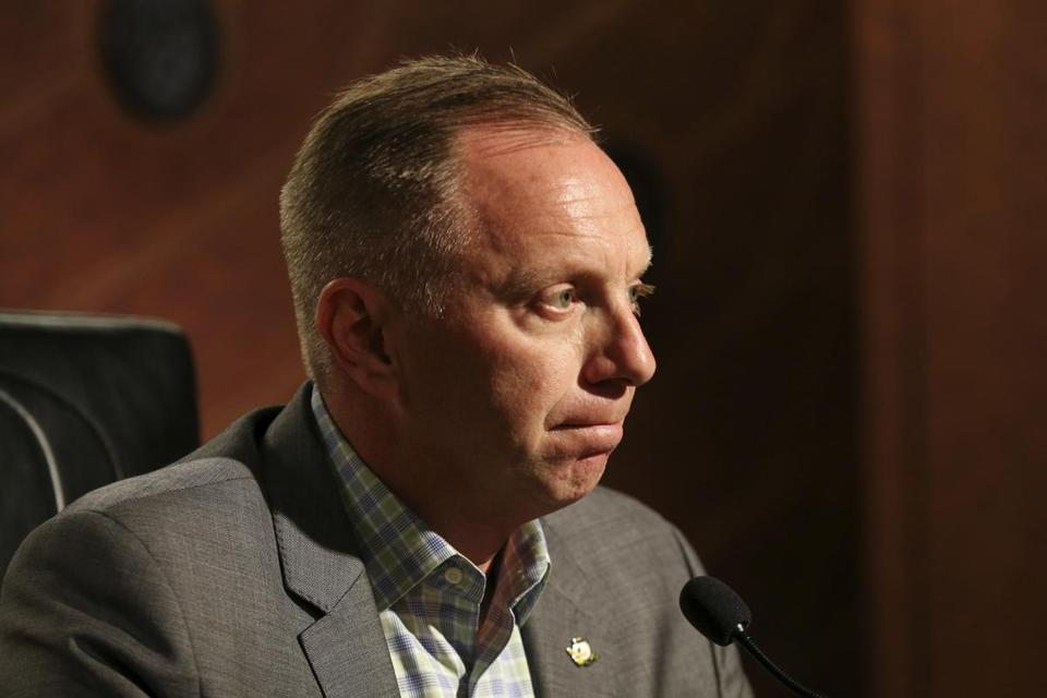 Oregon athletic director Rob Mullens fields a question from a reporter at the Hatfield-Dowling Complex in Eugene, Ore., Tuesday, Dec. 5, 2017, after head coach Willie Taggart accepted the same position at Florida State, less than a year after he accepted the Oregon job. (Collin Andrew/The Register-Guard via AP)
