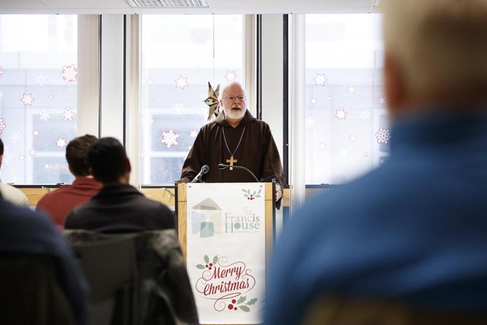 12/25/2017 - Boston, MA - Cardinal Sean O'Malley visited the St. Francis House on Christmas morning and held a special service for residents and guests. Photo by Dina Rudick/Globe Staff