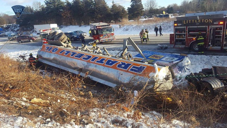 Seriously Injured After Tractor-Trailer Rollover, Hazmat Situation on I-495