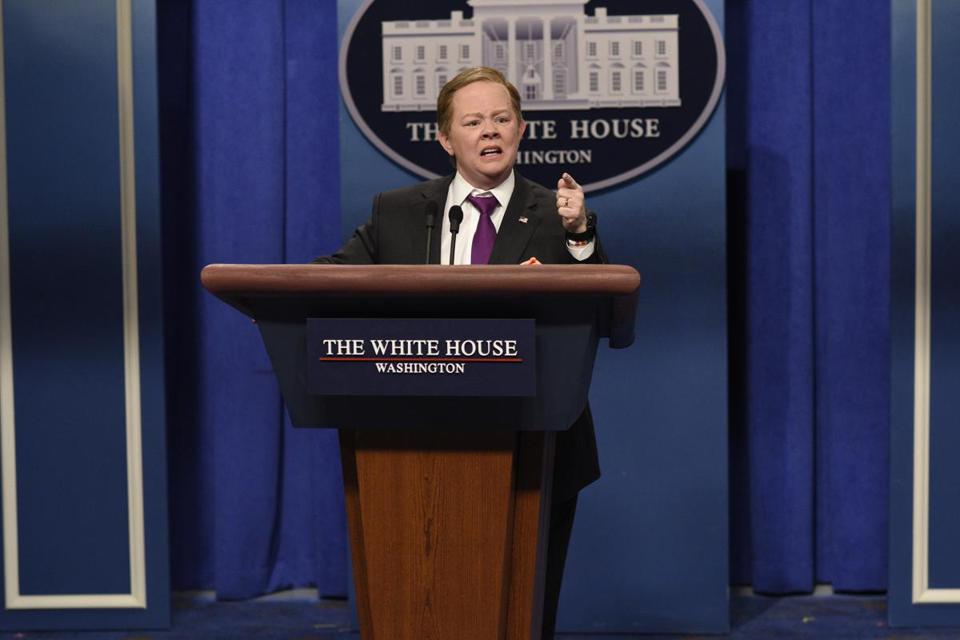 "Melissa McCarthy played former press secretary Sean Spicer on ""Saturday Night Live"" in New York."