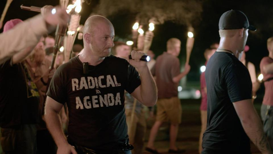"A white nationalist is pictured in the ""Vice News Tonight"" story ""Charlottesville: Race and Terror."""