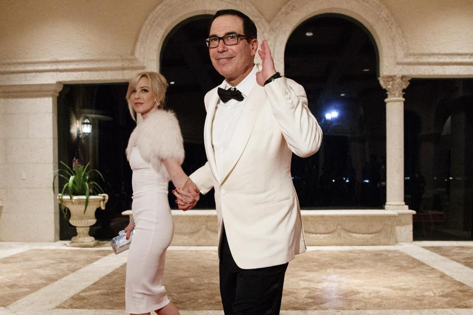 Treasury Secretary Steve Mnuchin and his wife, Louise Linton, arrived at Mar-a-Lago.