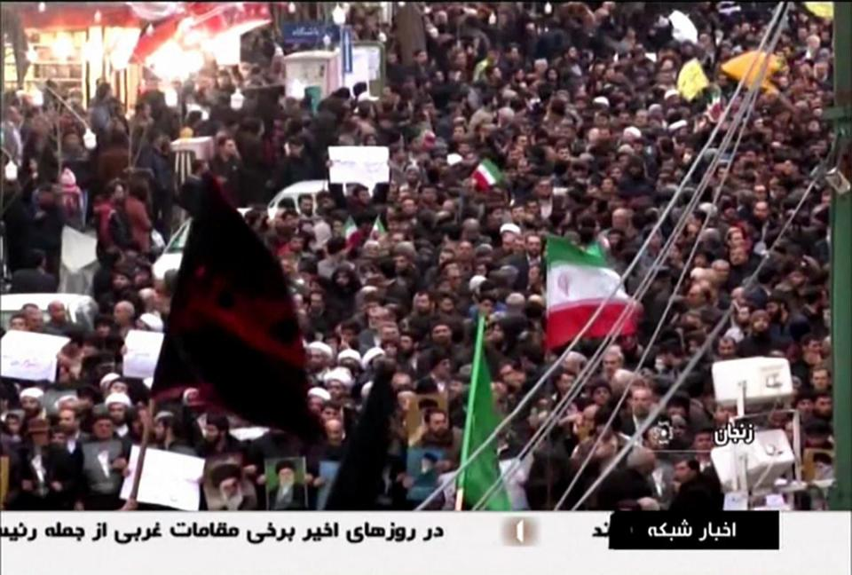 An image shown on Islamic Republic of Iran Broadcasting showed Iranians marching in support of the regime.