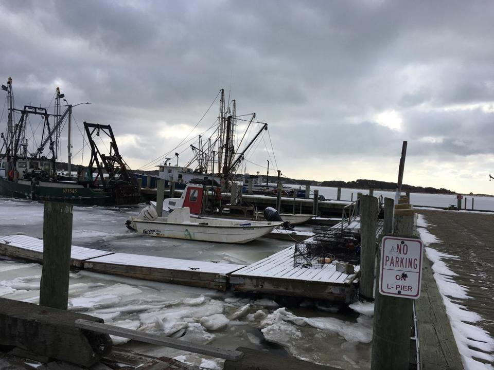 03ice -- Ice in the Wellfleet Harbor on Jan. 2, 2018. (Wellfleet Harbormaster)
