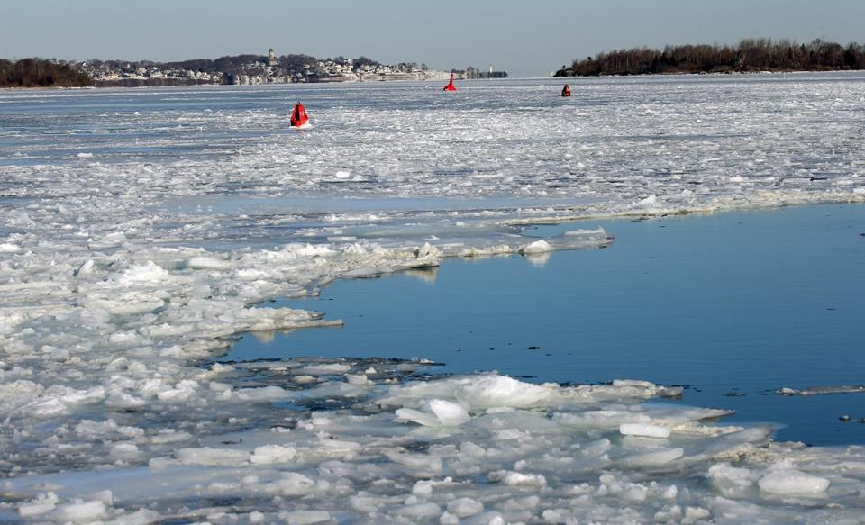HINGHAM, MA - 1/02/2018: A view of the ice at Hingham Shipyard where ferry service was closed to riders because of weather with Hull and Boston Light are in the background. (David L Ryan/Globe Staff ) SECTION: METRO TOPIC stand alone photos