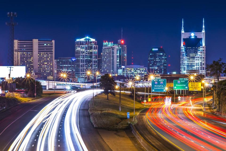 Downtown Nashville at nights.