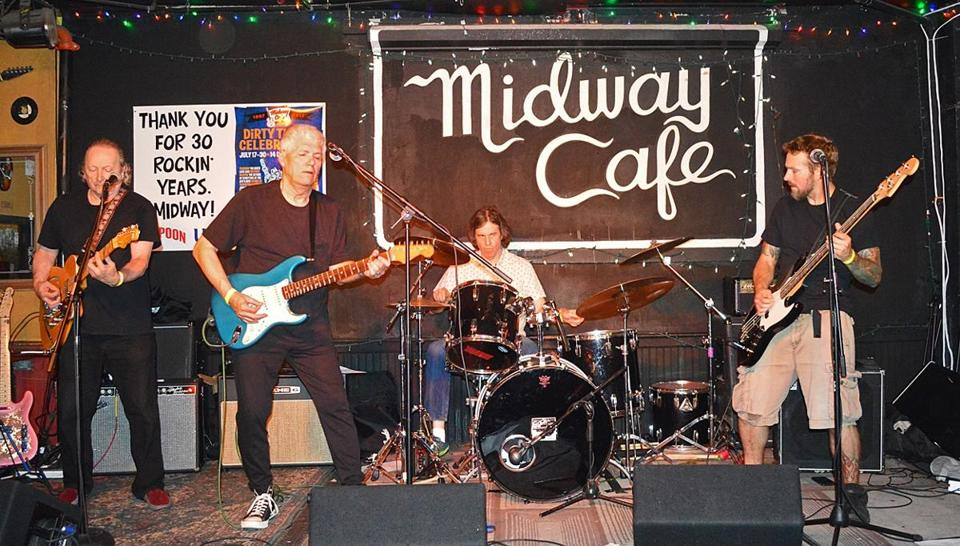 The present-day Nervous Eaters perform at the Midway Cafe.