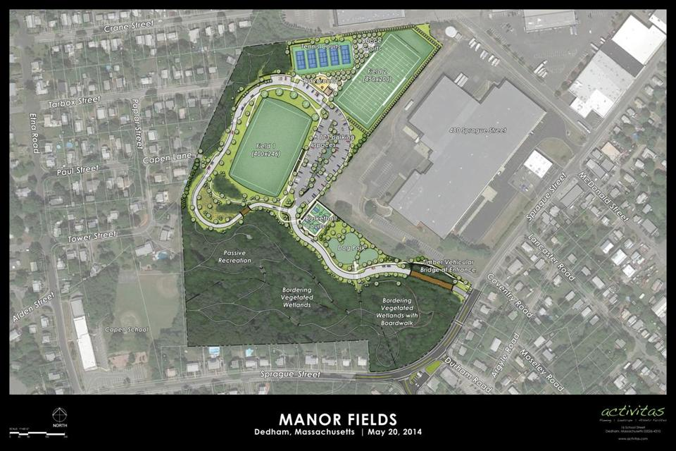 A rendering of Dedham's Manor Fields Park.