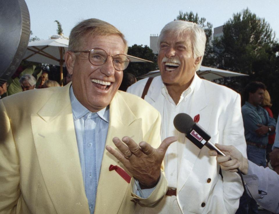 Jerry Van Dyke (left) and his brother, Dick, laughed during a party in Los Angeles.