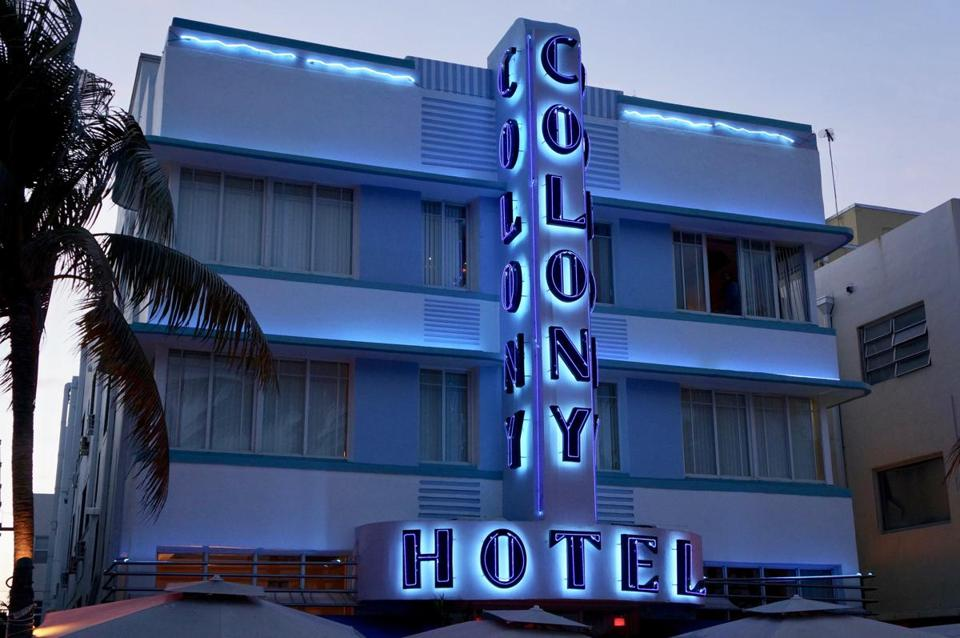 Facade of the Colony Hotel in South Beach
