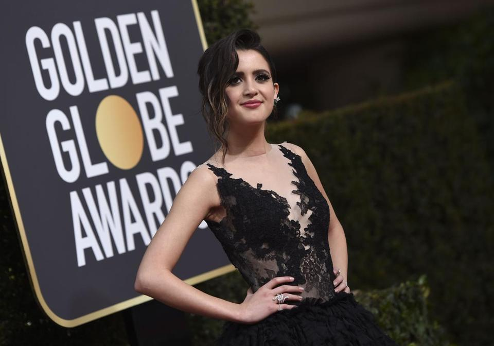 Laura Marano arrives for the 75th Golden Globe Awards on January 7, 2018, in Beverly Hills, California. / AFP PHOTO / VALERIE MACON