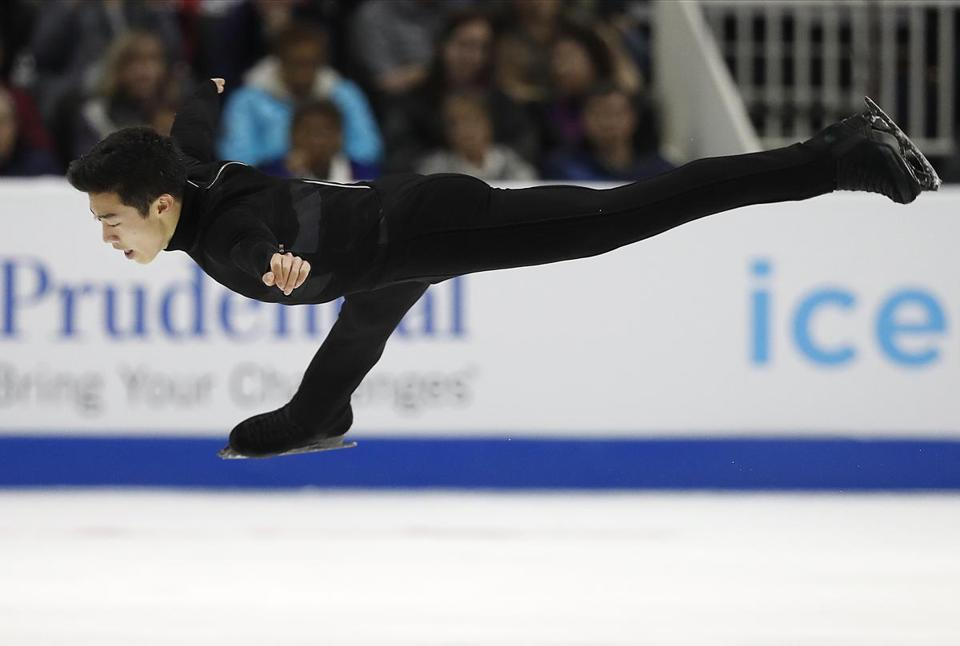 Nathan Chen performs during the men's free skate event at the U.S. Figure Skating Championships in San Jose, Calif., Saturday, Jan. 6, 2018. (AP Photo/Tony Avelar)