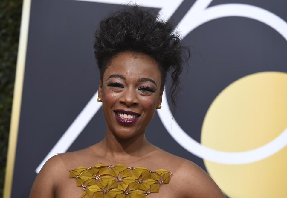 Samira Wiley arrives at the 75th annual Golden Globe Awards at the Beverly Hilton Hotel on Sunday, Jan. 7, 2018, in Beverly Hills, Calif. (Photo by Jordan Strauss/Invision/AP)