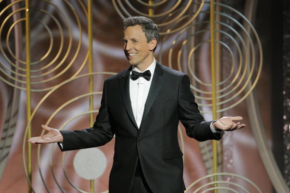 Seth Meyers during the monologue at the beginning of the show