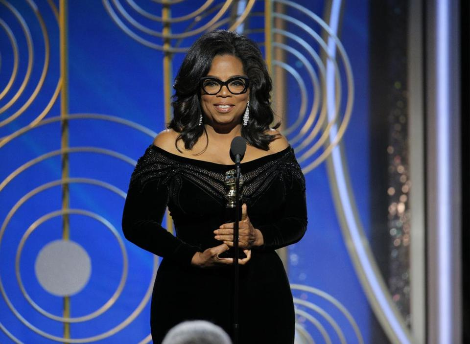 Oprah Winfrey accepted the Cecil B. DeMille Award during Sunday night's Golden Globe Awards.
