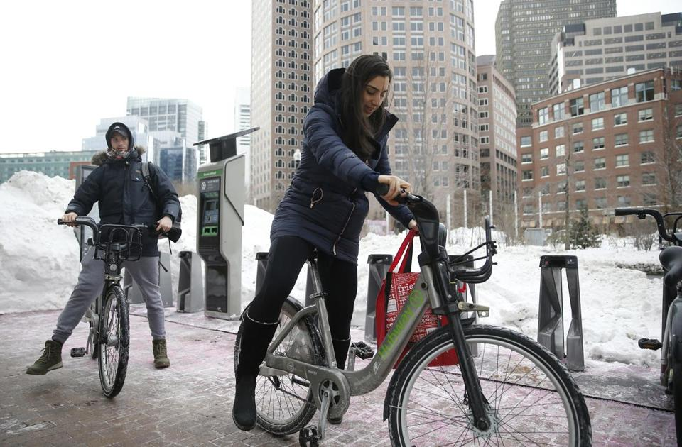 Leah Sabatino swapped a Hubway bike Monday for the Uber rides she'd been forced to use to commute to work amid recent brutal weather.