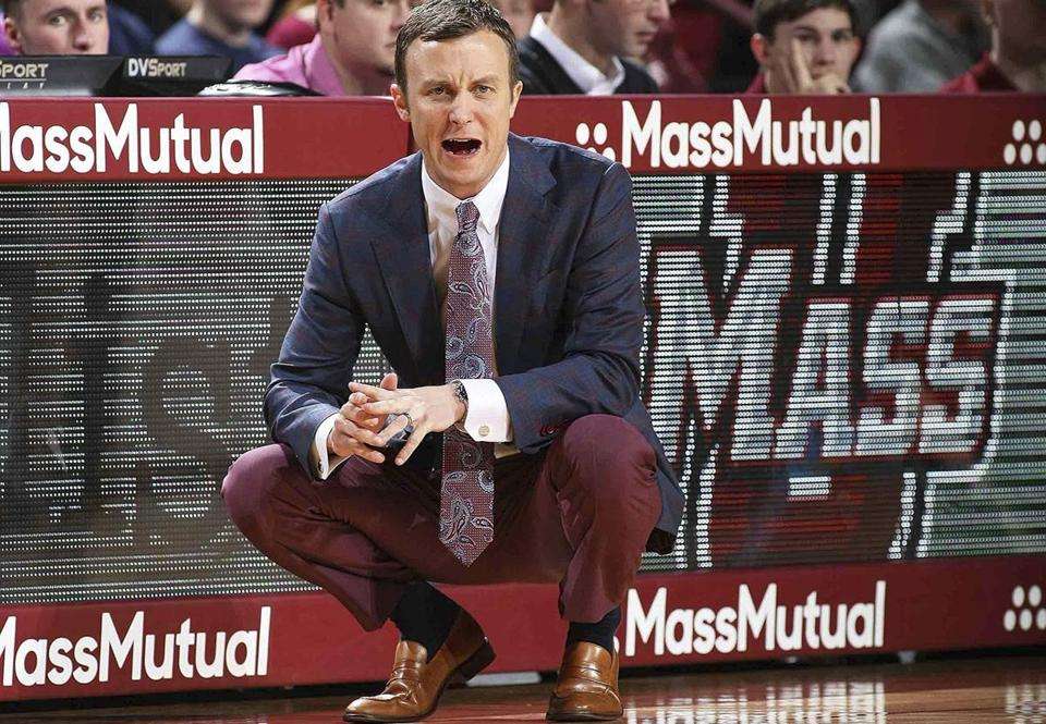 Massachusetts coach Matt McCall, shouts out instructions to his players during the first half against Providence in an NCAA college basketball game Saturday, Dec. 9, 2017, in Amherst, Mass.(J. Anthony Roberts/The Republican via AP)