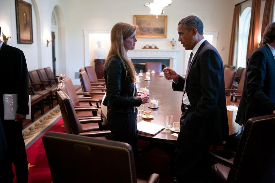 "President Obama with US Ambassador to the United Nations Samantha Power in ""The Final Year."""