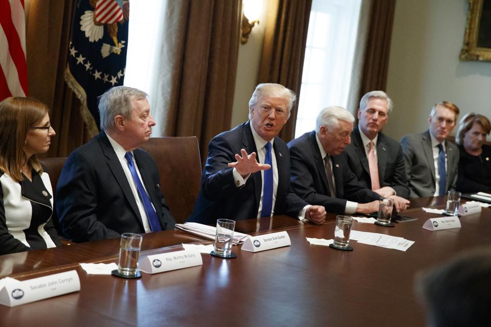 President Donald Trump spoke during a meeting with lawmakers on immigration policy in the Cabinet Room of the White House Tuesday.