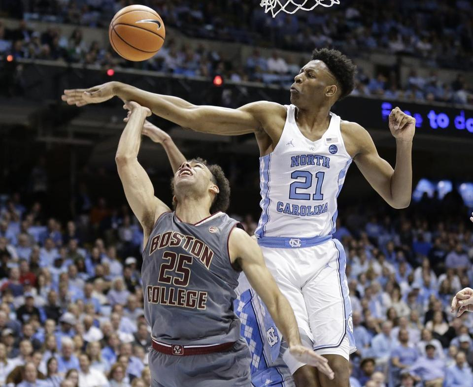 No. 20 UNC pounds Boston College to end skid