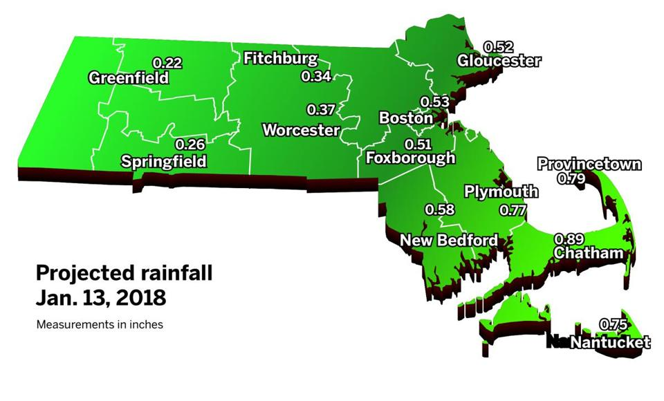 The Cape is projected to get more rain than the rest of Massachusetts Saturday.