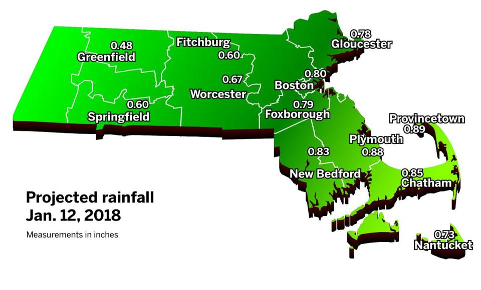 Parts of Massachusetts could get nearly an inch of rain Friday.