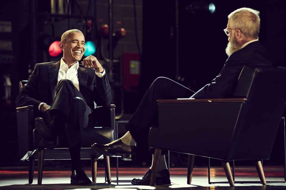 "Netflix program ""My Next Guest Needs No Introduction with David Letterman."" Pictured: Barack Obama and David Letterman."