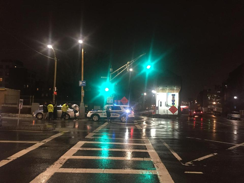 Police at the scene of the crash on Massachusetts Avenue Friday evening.