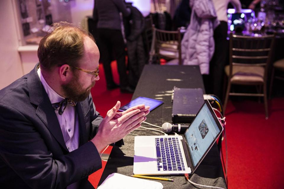 At the BSO food opera, Ben Houge uses video game techniques to pace the music to each course and to each diner. Right: Houge talks with diners. Top: A diner eats while descriptive words pop up on an iPad and music plays on resonators.