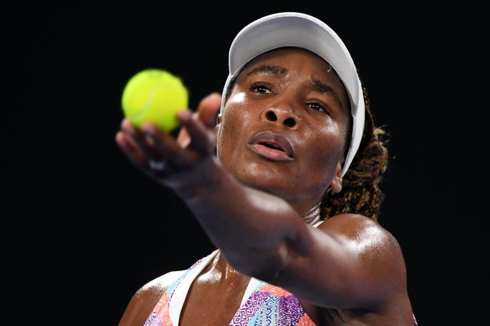 Venus Williams served to Belinda Bencic during Monday's match.