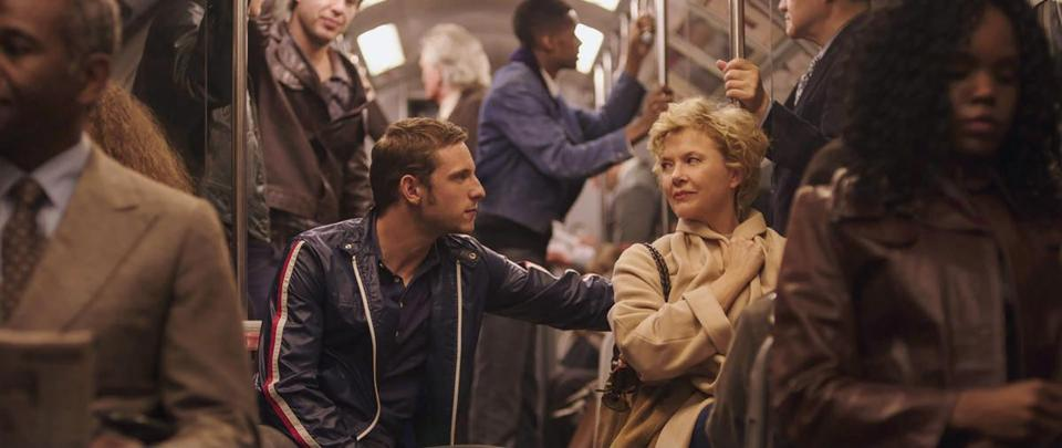 "Jamie Bell as Peter Turner and Annette Bening as Gloria Grahame in ""Film Stars Don't Die in Liverpool."""