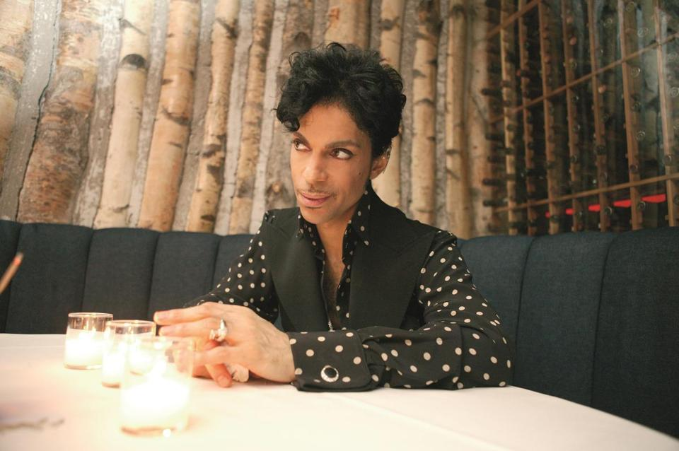 "An after-hours photo of Prince from the book ""Prince: A Private View."""