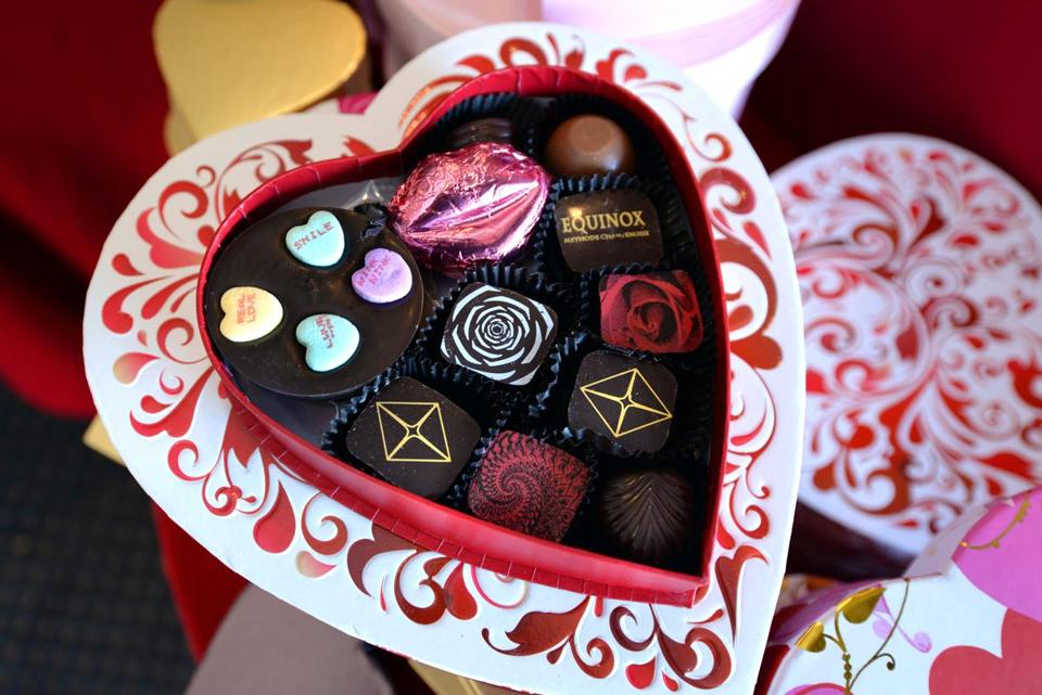 Quincy 01/18/2018: A Valentine box filled with a variety of different chocolate at the Purefections candy store in Quincy. Photo by Debee Tlumacki for the Boston Globe (south)